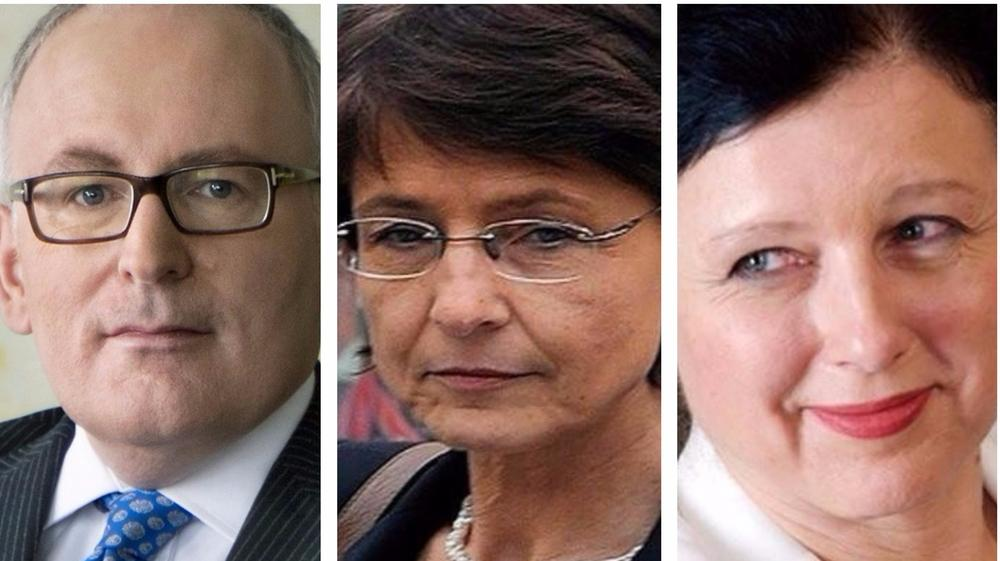 Frans Timmermans, vicepresidente della Commissione Ue; Marianne Thyssen, commissaria all'Occupazione, affari sociali e inclusione  e Vera Jourova, commissaria per la Giustizia