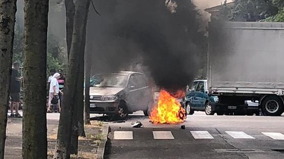L'incidente in via Montorio (foto RoSs)