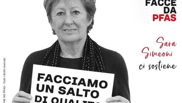 Sara Simeoni nel manifesto della campagna anti Pfas