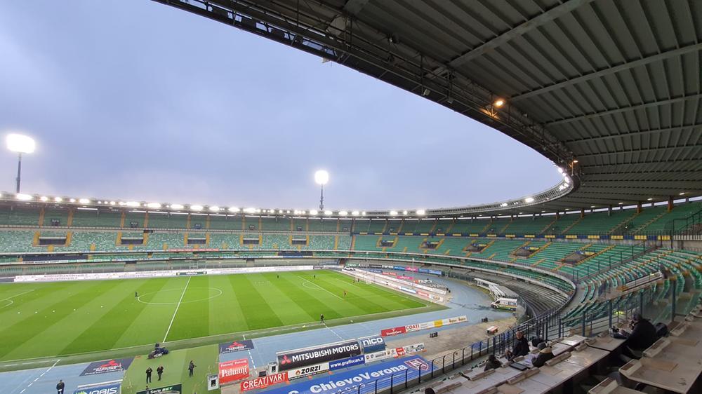 Il Bentegodi, chiuso al pubblico per questo Chievo-Livorno a causa dell'emergenza Corona virus.