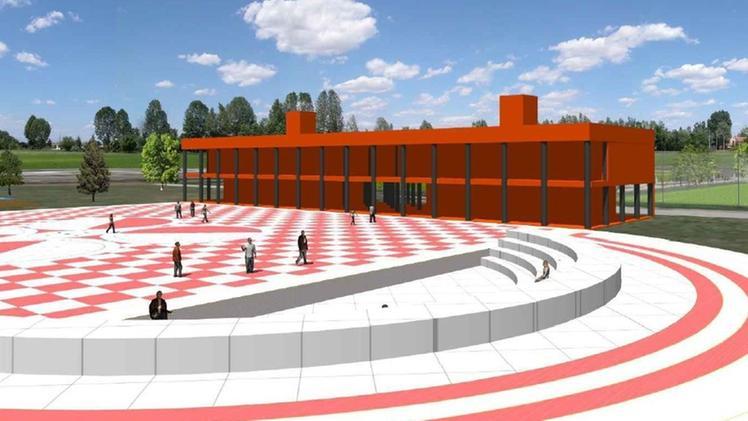 Il rendering del complesso dotato di piazza ed anfiteatro che ospiterà le associazioni nella nuova Cittadella dello sport prevista a Casette